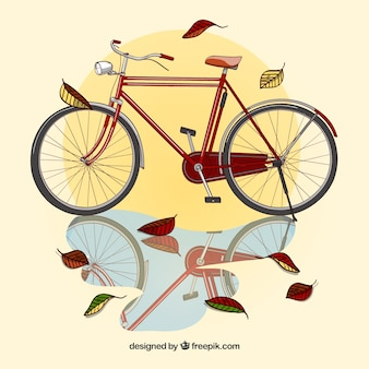Realistischer herbsthintergrund mit fahrrad