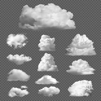 Realistischer himmelswolkensatz. flauschiges weißes nebliges klima wolkengebilde wetter. lufttrübe kondensation