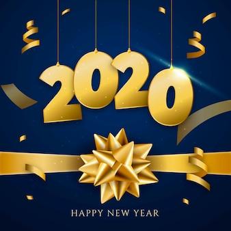 Realistischer hintergrund 2020 des neuen jahres mit goldenem geschenkbogen