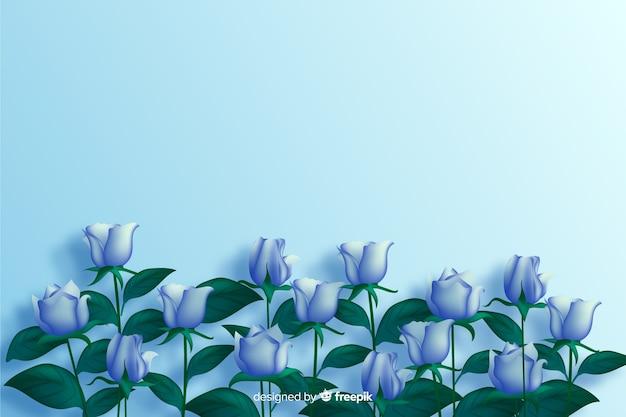 Realistischer hintergrund der blauen blumen