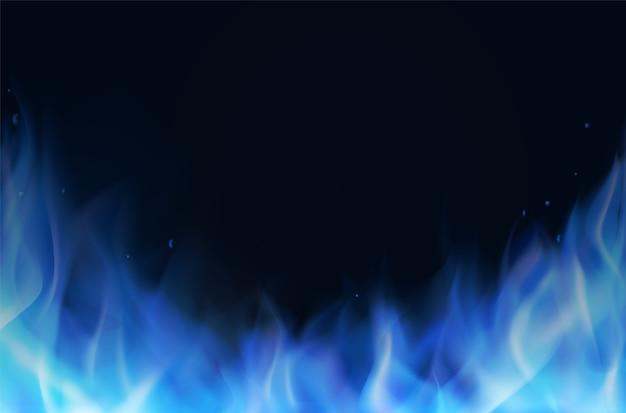 Realistischer hintergrund der blauen feuerflamme