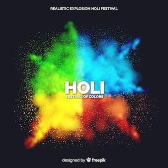 Realistischer hintergrund der explosion holi festival