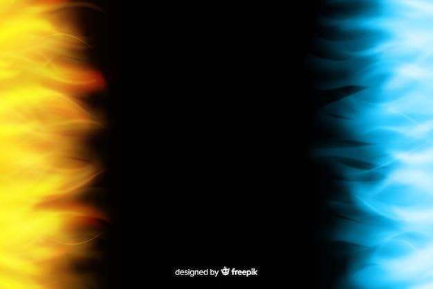 Realistischer hintergrund der gelben und blauen flammen