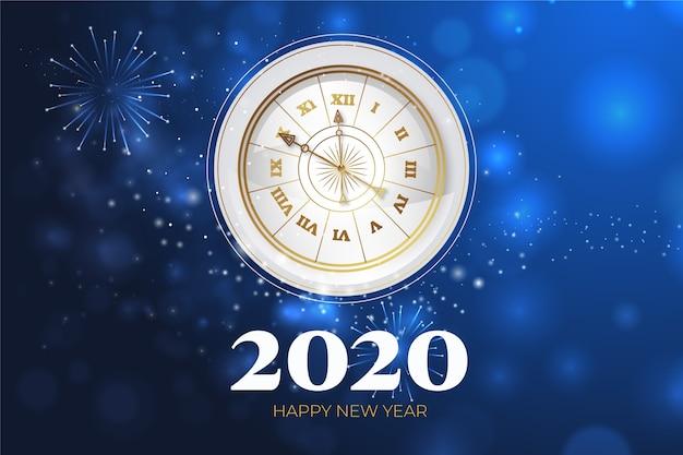 Realistischer hintergrund der uhr des neuen jahres 2020