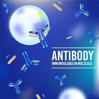 Realistischer hintergrund des antikörper-immunglobulinmoleküls