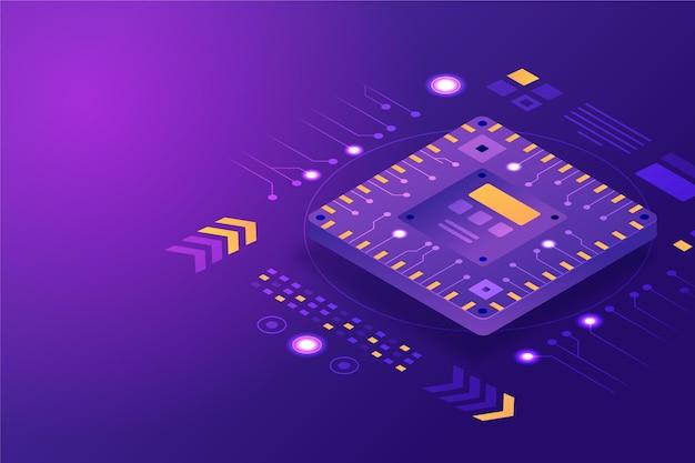 Realistischer hintergrund des mikrochip-prozessors