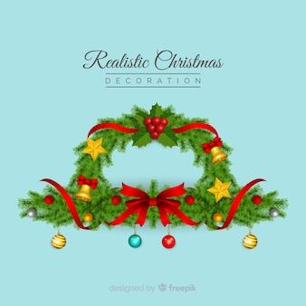 Realistischer hintergrund des weihnachtskranzes