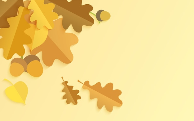 Realistischer hintergrund mit herbstlichen eichenblättern und eicheln