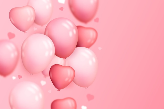 Realistischer hintergrund mit herzförmigen luftballons