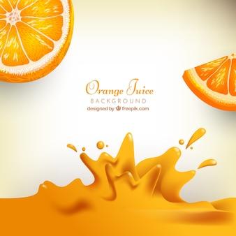 Realistischer hintergrund von orangensaft