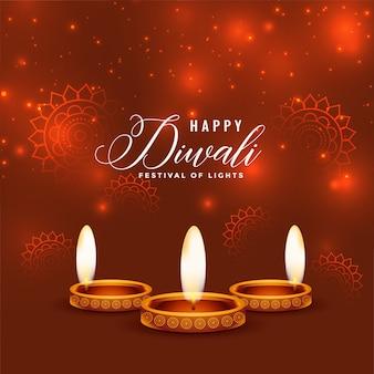 Realistischer hintergrundentwurf des glänzenden glücklichen diwali diya