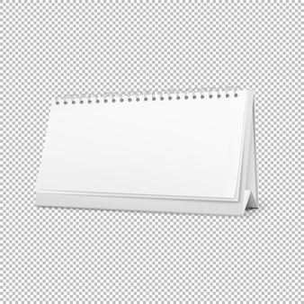 Realistischer horizontaler stehender leerer gewundener tischkalender lokalisiert an auf weißem hintergrund