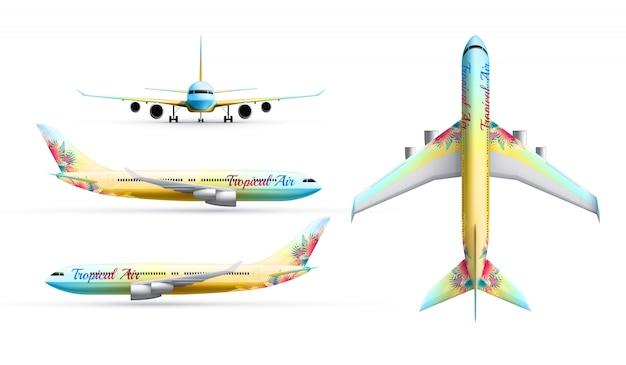 Realistischer identitätssatz des bunten verkehrsflugzeugs des passagierflugzeugs im profil oben und von vorne isoliert