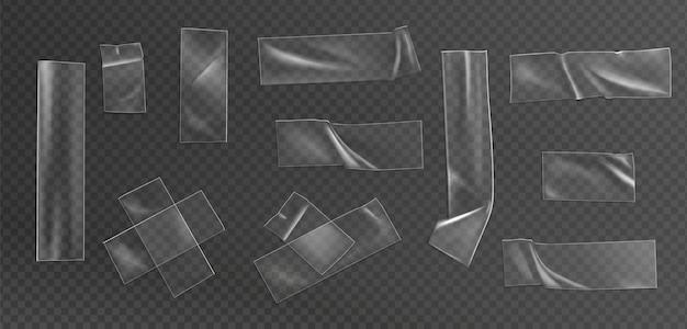 Realistischer illustrationssatz aus transparentem klebeband Kostenlosen Vektoren