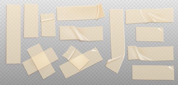 Realistischer illustrationssatz aus transparentem klebeband
