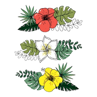 Realistischer illustrationssatz des vektors tropische blätter und blumen lokalisiert auf weißem hintergrund.