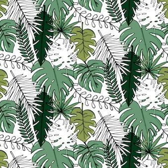 Realistischer illustrationssatz des vektors tropische blätter