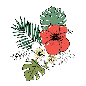 Realistischer illustrationssatz tropische blätter und blumen