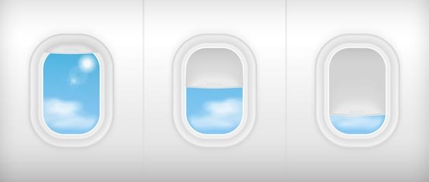 Realistischer innenraum des flugzeugtransportes der weichen farbe. flugzeuge in sitzen stühle in der nähe von fenstern.