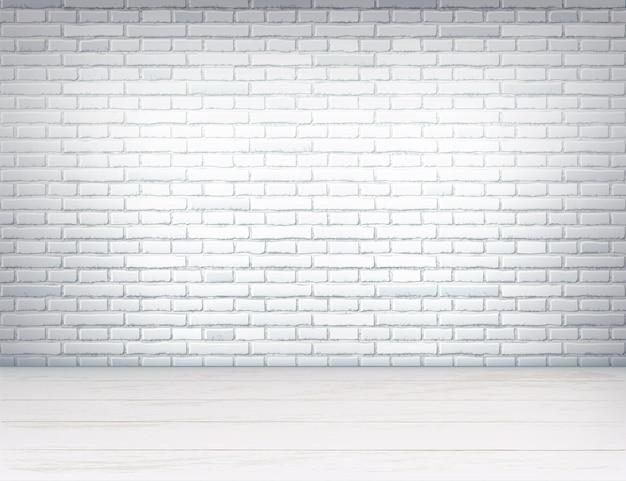 Realistischer innenraum des leeren raumes mit weißer backsteinmauer