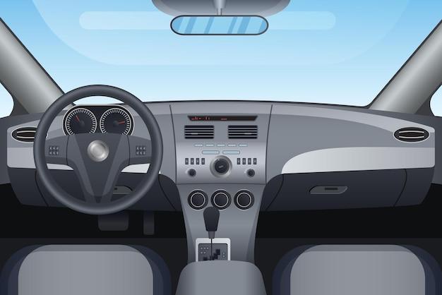 Realistischer innenraum eines dunklen fahrzeugautos