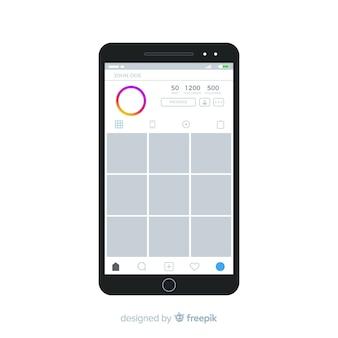 Realistischer instagram-fotorahmen auf dem iphone