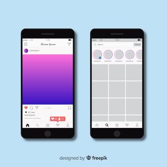 Realistischer instagram-fotorahmen auf dem smartphone