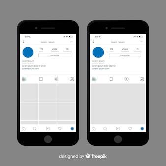 Realistischer instagram-fotorahmen auf iphone-sammlung