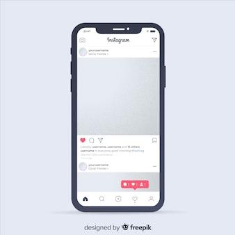 Realistischer instagram-fotorahmen auf iphone-schablone