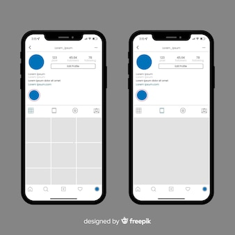 Realistischer instagram-fotorahmen in der telefonsammlung