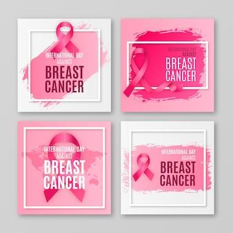 Realistischer internationaler tag gegen brustkrebs instagram posts sammlung