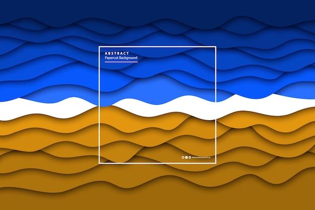 Realistischer isolierter sommerstrand des vektors mit meer und sand mit papierschnittschichthintergrund