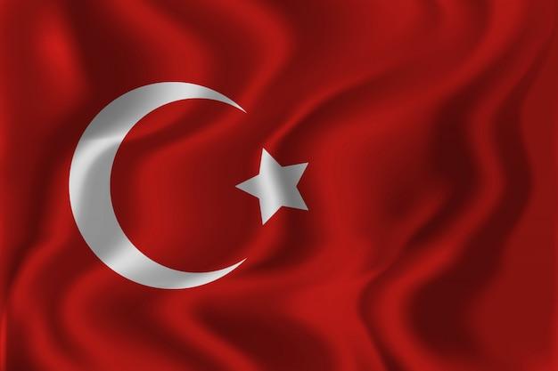 Realistischer isolierter winkender türkischer flaggenhintergrund für dekoration und abdeckung. konzept des glücklichen zafer bayrami, tag des sieges in der türkei.