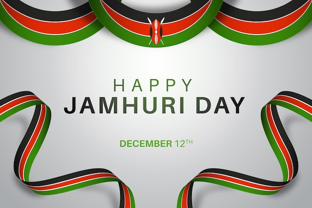 Realistischer jamhuri-tag mit afrikanischer flagge