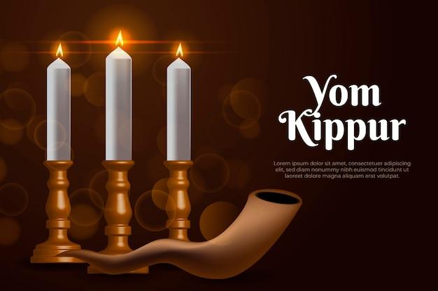 Realistischer jom kippur hintergrund mit horn und kerzen