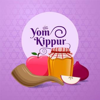 Realistischer jom kippur mit horn mit essen