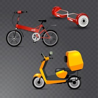 Realistischer jugendstadttransport stellte auf transparenten hintergrund ein. fahrrad, gyroscooter und fahrrad. moderner alternativer stadtverkehr. ökologischer jugendtransport, isoliert.