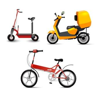 Realistischer jugendstadttransport stellte auf weißen hintergrund ein. fahrrad, gyroscooter und fahrrad. moderner alternativer stadtverkehr. ökologischer jugendtransport, isoliert.