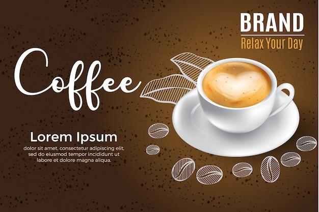 Realistischer kaffeeaufkleber der illustration 3d für paket und werbungsprodukt
