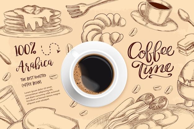 Realistischer kaffeehintergrund mit zeichnungen