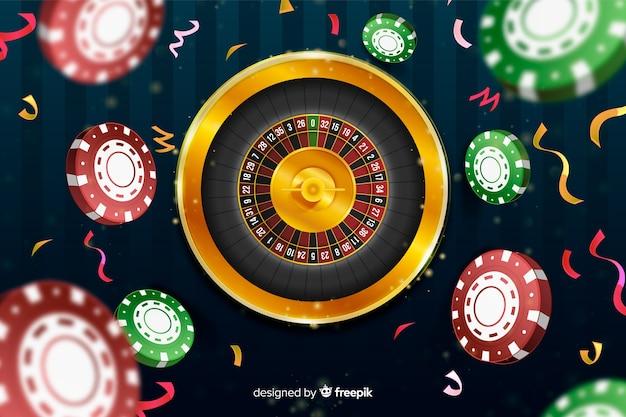 Realistischer kasinoroulettehintergrund mit chips