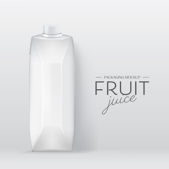 Realistischer kastenvektor. branding design milch, fruchtsaft getränk verpackung vorlage