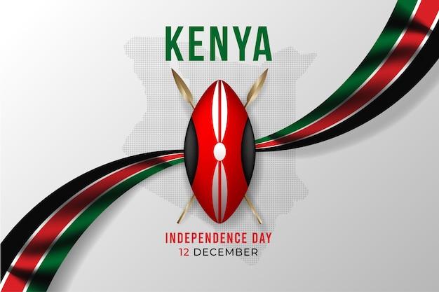 Realistischer kenia-tag mit flagge