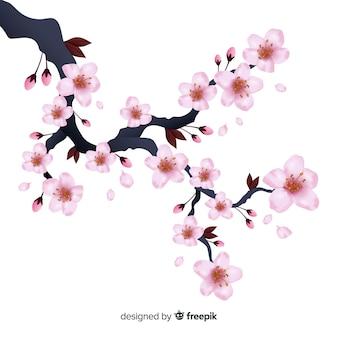 Realistischer kirschblüten-niederlassungshintergrund