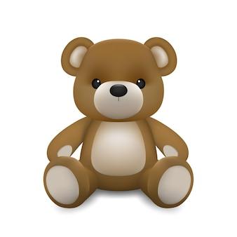 Realistischer kleiner niedlicher babybärenpuppencharakter, der auf dem boden lokalisiert auf weißem hintergrund sitzt. eine entspannende geste des tierbärenkarikatur.