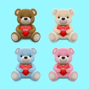 Realistischer kleiner süßer lächelnder teddybärpuppencharakter umarmt rotes herz und sitzt auf dem boden lokalisiert auf weißem hintergrund.