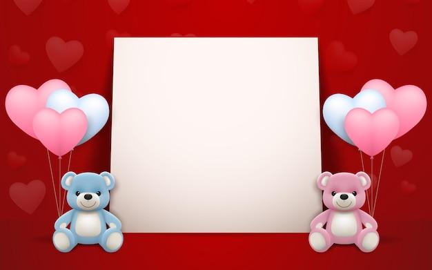 Realistischer kleiner süßer lächelnder teddybärpuppencharakter umarmt rotes herz und sitzt auf weißem rahmen mit vollem herzhintergrund