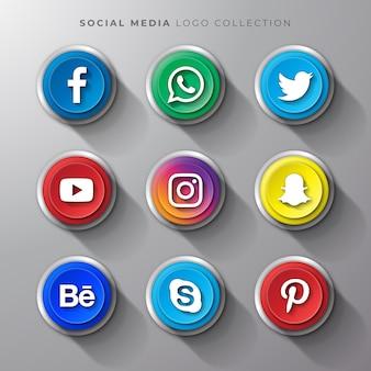 Realistischer knopfsatz des social media-logos
