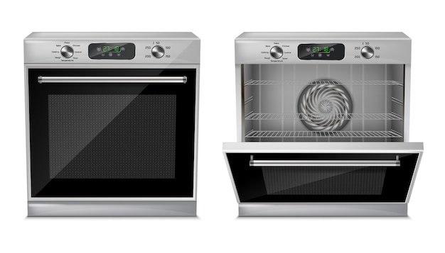 Realistischer kompaktofen mit digitalanzeige, timer, voreingestellte kochprogramme