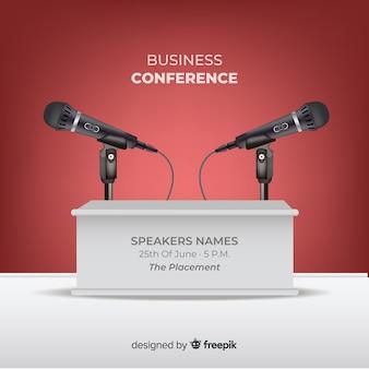Realistischer konferenzpodiumhintergrund